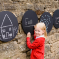 4 Pack Circular Chalkboards,Outdoor primary school Mark making,Children's mark making activities,activity Chalkboard,outdoor art equipment,outdoor sensory toys and mirrors,sensory garden furniture